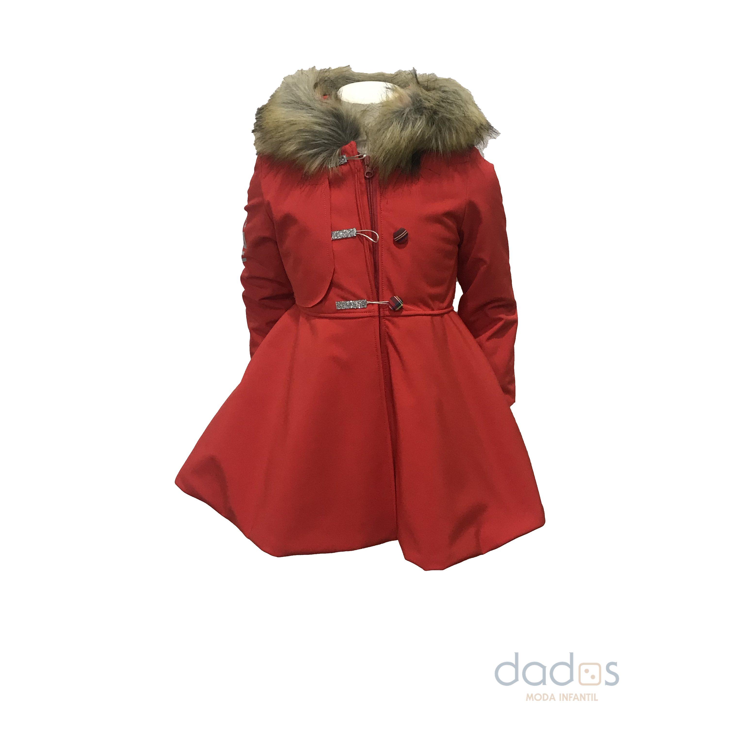 Coquelin abrigo rojo pelo capucha y puños