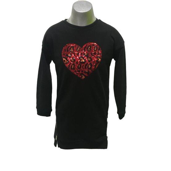 IDO vestido felpa negro corazón animal print