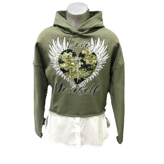 Elsy sudadera verde corazón con alas