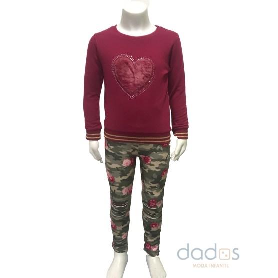 IDO conjunto legging camuflaje y sudadera corazón