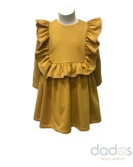 Mon Petit Bonbon vestido felpa mostaza