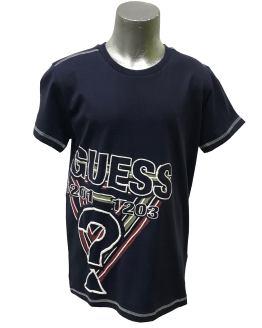 Guess camiseta chico azul marino logo engomado
