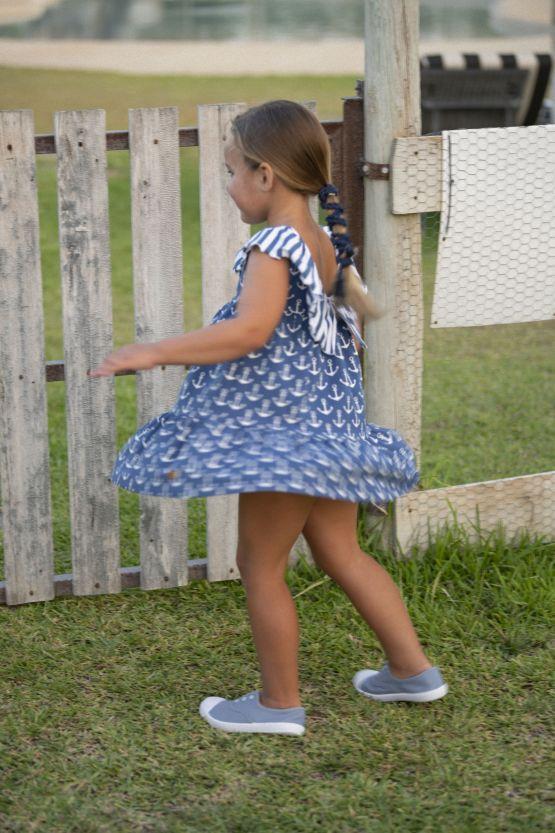 vestido anclas azul