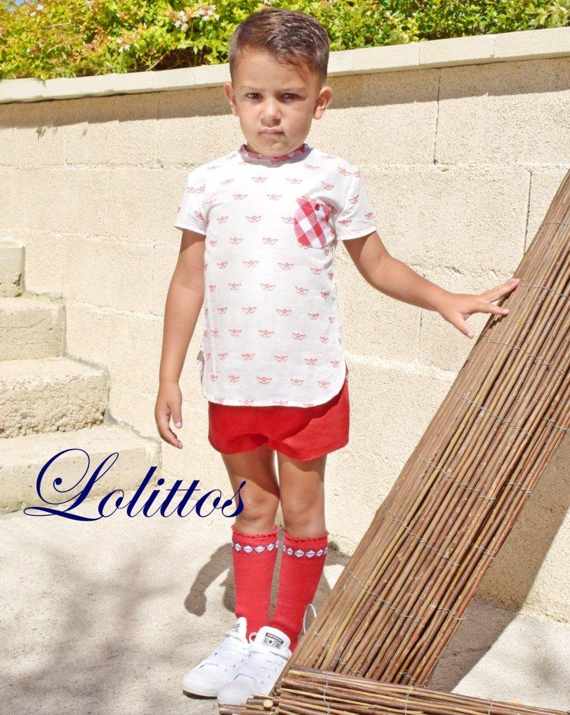 Lolittos colección barquito bermuda con camisa niño