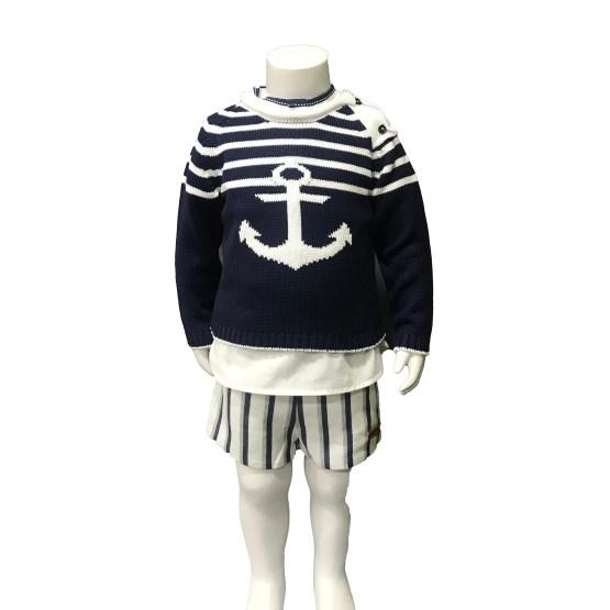 Propuesta de conjunto con jersey de Lolittos colección Ibiza bermuda con camisa niño