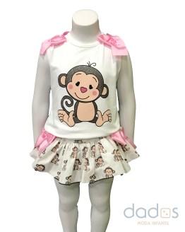 Mon Petit Bonbon conjunto braga y camiseta monitos