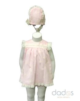 José Varón Colección bordados Vestido bebé con braga y capota rosa