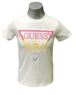 Guess camiseta niña blanca logo bordado fucsia y amarillo