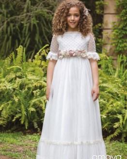Amaya vestido comunión flores crudas
