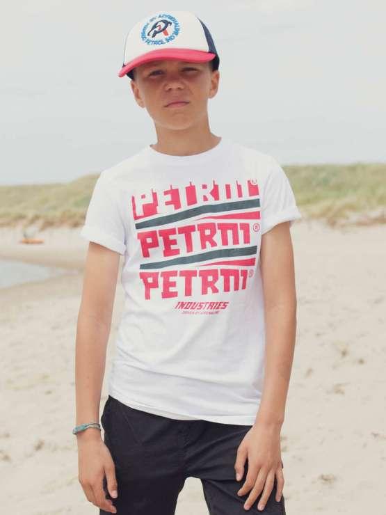 Petrol Camiseta chico blanca letras fucsia