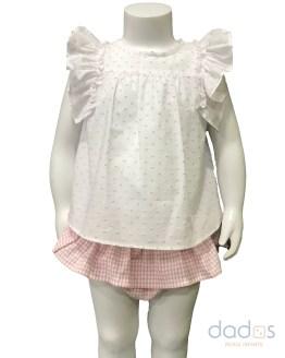 Cocote conjunto bebé niña braga vichy y blusa plumeti