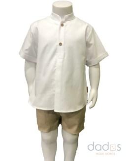 Cocote conjunto niño bermuda arena con camisa