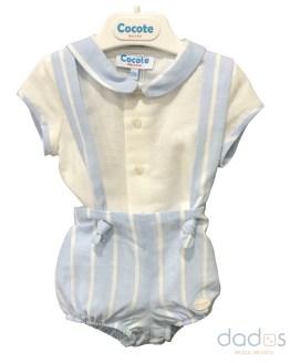 Cocote conjunto niño bebé celeste raya cruda
