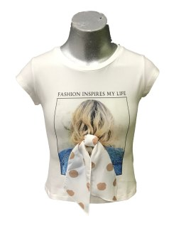 Elsy camiseta chica lazo topos camel