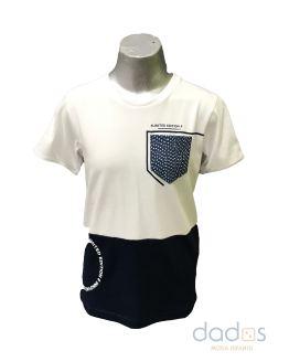 Sarabanda camiseta chico bicolor azul navy y blanca