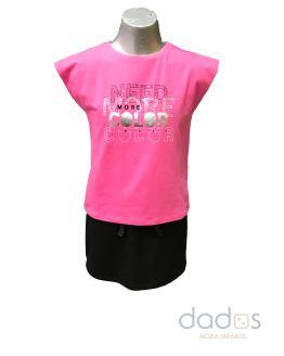 Sarabanda conjunto short negro felpa y camiseta fucsia letras