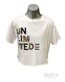 Sarabanda camiseta chica blanca letras lentejuelas