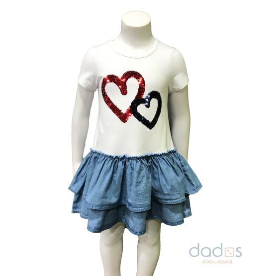 Ido vestido combinado denim felpa strech corazones
