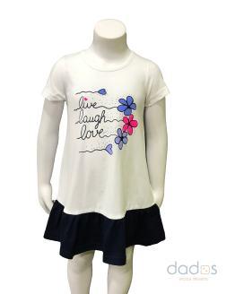 Ido vestido algodón combinado blanco y azul navy