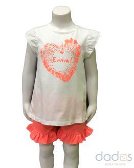 Ido conjunto niña coral en felpa camiseta corazón