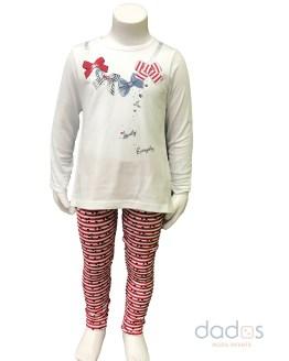 Ido conjunto niña legging rayas camiseta lazos
