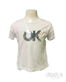 Ido camiseta niña blanca lentejuelas OK