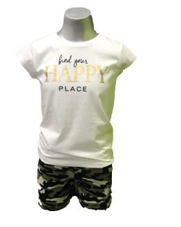 Ido conjunto short camuflaje camiseta blanca letras oro