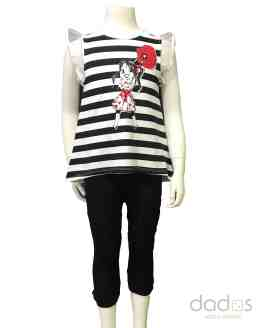 Sarabanda conjunto legging negro camiseta rayas negras