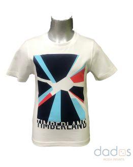 Timberland camiseta chico blanca dibujo multicolor