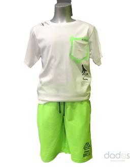 Ido conjunto chico jogging verde fluor camiseta blanca