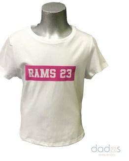 Rams 23 camiseta chica estampado Classic blanco-fucsia