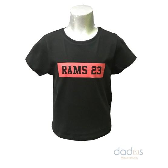 Rams 23 camiseta chica estampado Classic negro-rojo