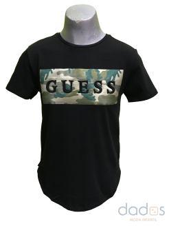 Guess camiseta chica negra logo relieve camuflaje