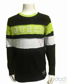 Guess camiseta niño combinada negro y verde lima