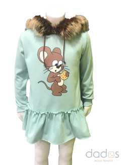 Mon Petit Bonbon Vestido en felpa ratón capucha pelo