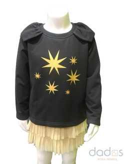Mon Petit Bonbon conjunto falda dorada y sudadera estrellas