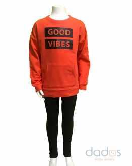 Ido conjunto chica legging y sudadera Good Vibes