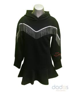 Monnalisa vestido tecnofelpa negro flecos con capucha
