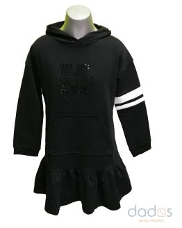 Monnalisa vestido felpa negro good capucha