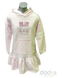 Monnalisa vestido felpa good rosa capucha