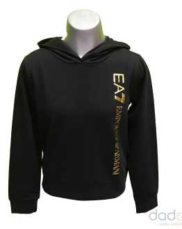 Armani EA7 sudadera chica negra logo lateral dorado