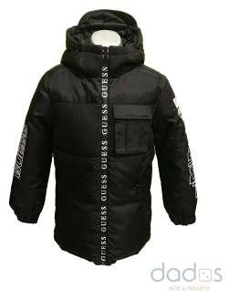 Guess chaquetón chico negro cremallera termosellada letras