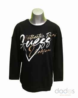 Guess maxi camiseta negra letras blancas y doradas