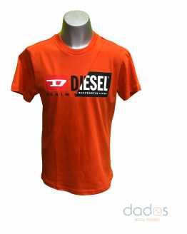 Diesel camiseta naranja logo engomado bicolor