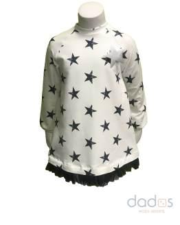 Cocote vestido niña estrellas crudo