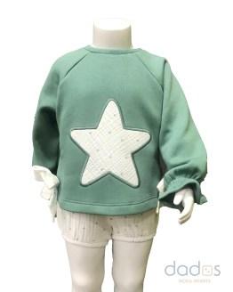Cocote conjunto bebé niña sudadera estrella verde