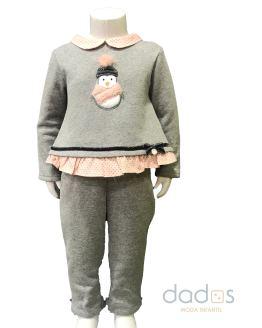 Coco Acqua chandal niña gris pingüino volante rosa topito