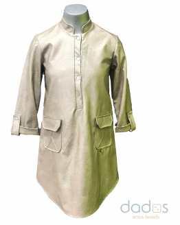 Bella Bimba vestido camisero polipiel oro LUAR