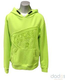 Guess sudadera oversize chico verde lima logo bordado