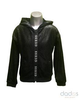 Guess chaqueta chica negra cremallera termosellada letras